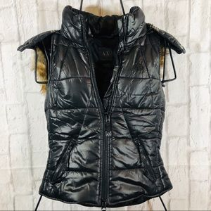 A/X Leather Puffer Zip Vest w/Removable Fur Hood